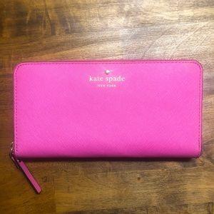 Kate spade pink zipper around wallet